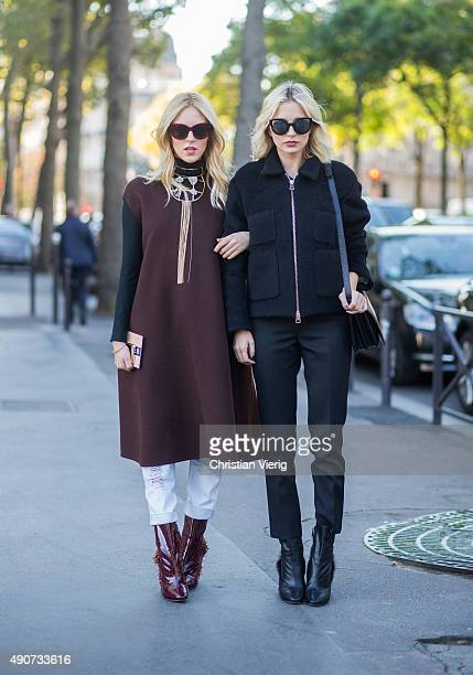 Shea Marie and Caroline Vreeland wearing Rochas during Paris Fashion Week Womenswear Spring/Summer 2016 on September 30 2015 in Paris France