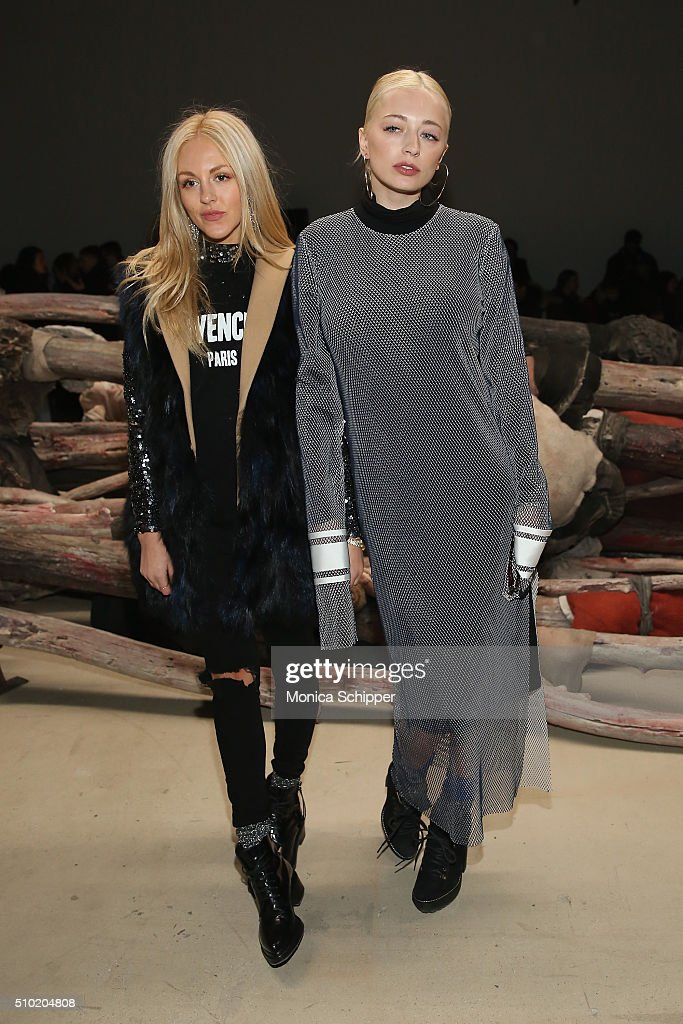 Shea Marie (L) and model <a gi-track='captionPersonalityLinkClicked' href=/galleries/search?phrase=Caroline+Vreeland&family=editorial&specificpeople=4691235 ng-click='$event.stopPropagation()'>Caroline Vreeland</a> attend the Public School Fall 2016 fashion show during New York Fashion Week on February 14, 2016 in New York City.