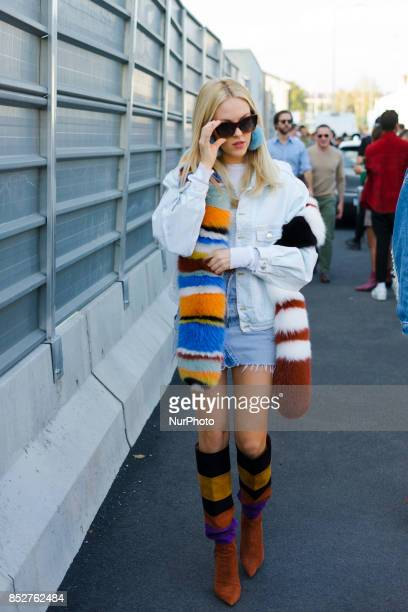 Shea Marie is seen outside Missoni during Milan Fashion Week Spring/Summer 2018 on September 23 2017 in Milan Italy