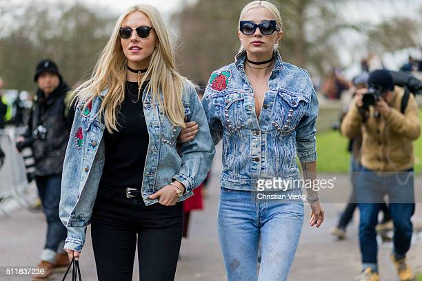 Shea Marie wearing a light blue denim jacket and black denim jeans and Caroline Vreeland seen outside Burberry during London Fashion Week...