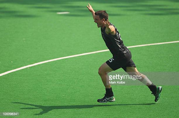 Shea McAleese of New Zealand celebrates converting a shot in the penalty shoot out to win the Men's Bronze medal match between New Zealand and...