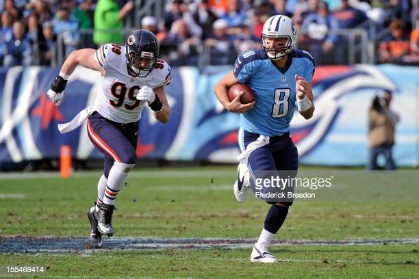 Shea McClellin of the Chicago Bears chases Matt Hasselbeck of the Tennessee Titans at LP Field on November 4 2012 in Nashville Tennessee