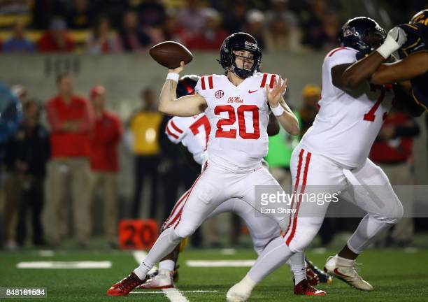 Shea Patterson of the Mississippi Rebels passes the ball against the California Golden Bears at California Memorial Stadium on September 16 2017 in...