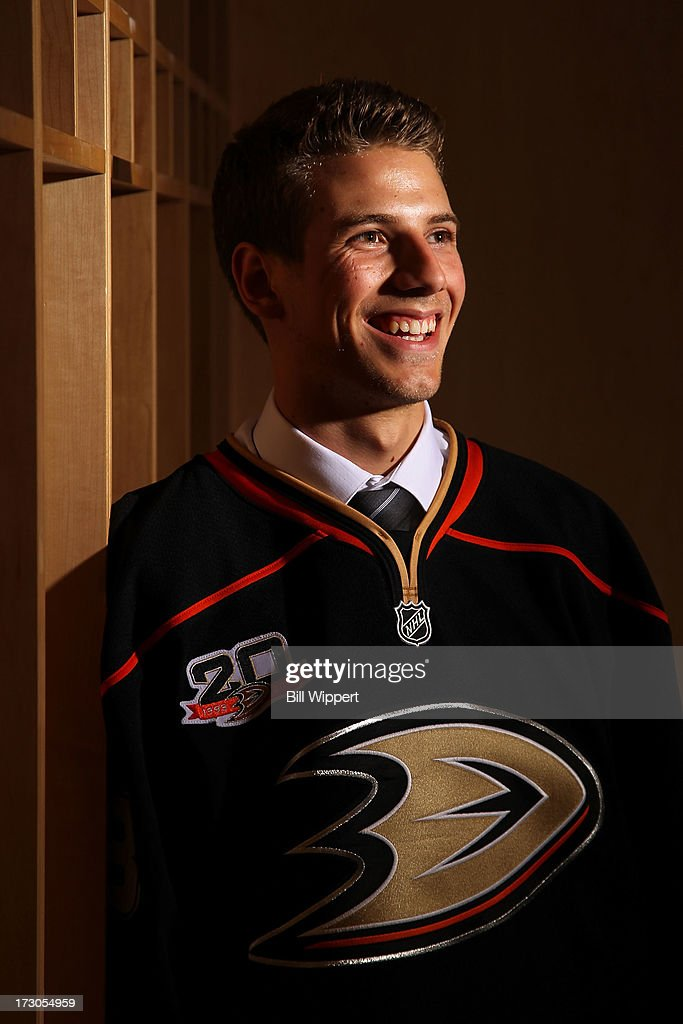 Shea Theodore, 26th pick overall by the Anaheim Ducks, poses for a portrait during the 2013 NHL Draft at Prudential Center on June 30, 2013 in Newark, New Jersey.