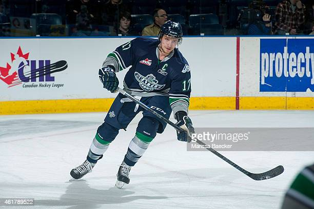 Shea Theodore of Seattle Thunderbirds warms up against the Kelowna Rockets on January 16 2015 at Prospera Place in Kelowna British Columbia Canada