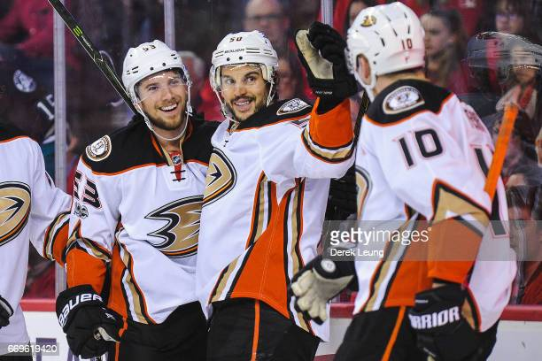 Shea Theodore of the Anaheim Ducks celebrates after scoring against the Calgary Flames in Game Three of the Western Conference First Round during the...