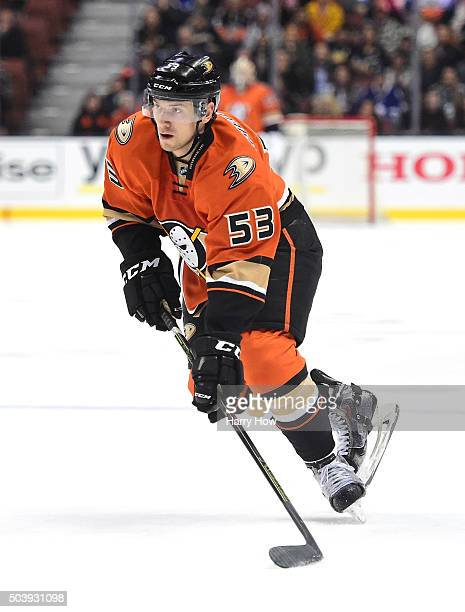 Shea Theodore of the Anaheim Ducks controls the puck on the power play during the game against the Toronto Maple Leafs at Honda Center on January 6...