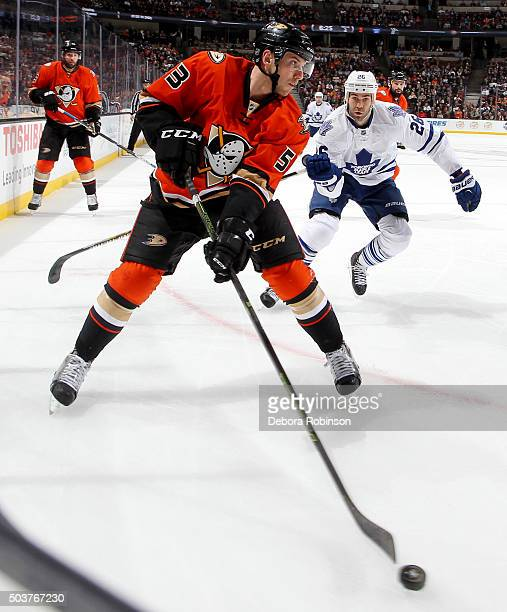 Shea Theodore of the Anaheim Ducks handles the puck during the game against the Toronto Maple Leafs on January 6 2016 at Honda Center in Anaheim...