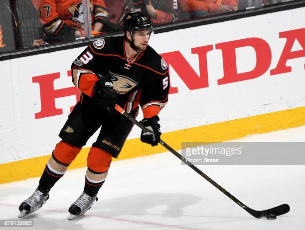 Shea Theodore of the Anaheim Ducks handles the puck during the game against the Edmonton Oilers in Game Two of the Western Conference Second Round...