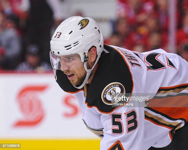 Shea Theodore of the Anaheim Ducks in action against the Calgary Flames in Game Three of the Western Conference First Round during the 2017 NHL...