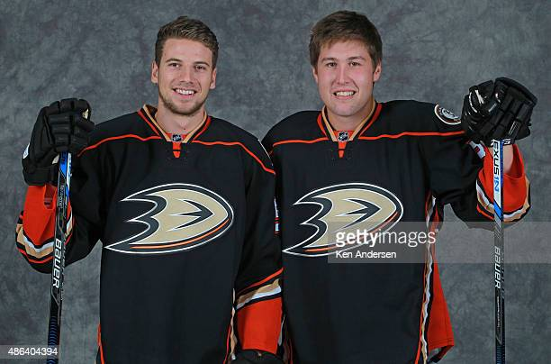 Shea Theodore of the Anaheim Ducks poses for an NHLPA Rookie Showcase portrait at the Westin Harbour Castle on August 312015 in Toronto Ontario Canada