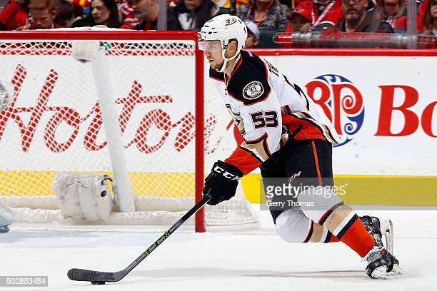 Shea Theodore of the Anaheim Ducks skates against the Calgary Flames during an NHL game at Scotiabank Saddledome on December 29 2015 in Calgary...