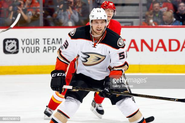 Shea Theodore of the Anaheim Ducks skates against the Calgary Flames during an NHL game on April 2 2017 at the Scotiabank Saddledome in Calgary...