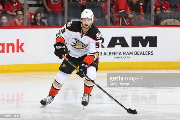 Shea Theodore of the Anaheim Ducks skates against the Calgary Flames during Game Four of the Western Conference First Round during the 2017 NHL...