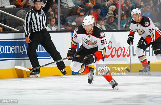 Shea Theodore of the Anaheim Ducks skates against the San Jose Sharks at SAP Center on September 26 2015 in San Jose California