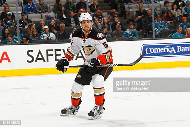 Shea Theodore of the Anaheim Ducks skates against the San Jose Sharks at SAP Center on October 5 2016 in San Jose California
