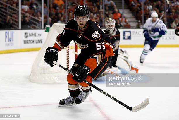 Shea Theodore of the Anaheim Ducks skates to the puck during the second period of a game against the Vancouver Canucks at Honda Center on October 23...