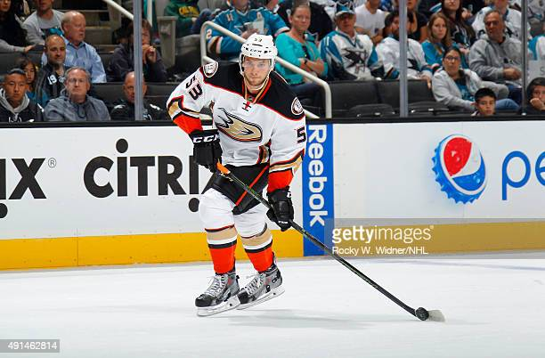 Shea Theodore of the Anaheim Ducks skates with control of the puck against the San Jose Sharks at SAP Center on September 26 2015 in San Jose...