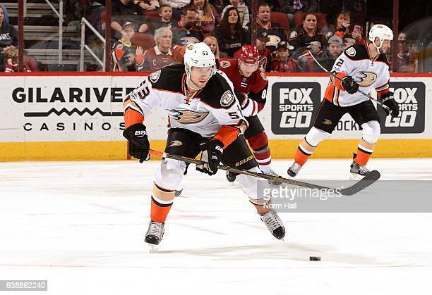 Shea Theodore of the Anaheim Ducks skates with the puck against the Arizona Coyotes at Gila River Arena on January 14 2017 in Glendale Arizona