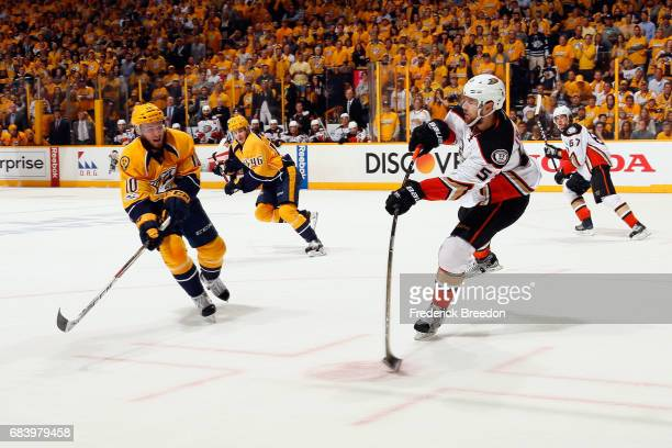 Shea Theodore of the Anaheim Ducks skates with the puck against the Nashville Predators during the third period in Game Three of the Western...