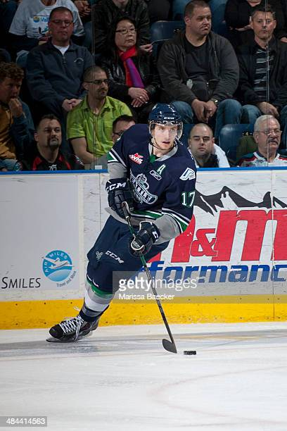 Shea Theodore of the Seattle Thunderbirds skates with the puck against the Kelowna Rockets on April 3 2014 during Game 1 of the second round of WHL...