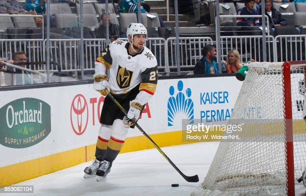 Shea Theodore of the Vegas Golden Knights controls the puck against the San Jose Sharks at SAP Center on September 21 2017 in San Jose California