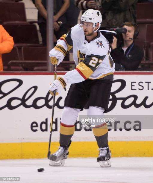 Shea Theodoreof the Las Vegas Golden Knights skates with the puck before a game against the Vancouver Canucks in NHL preseason action on September...