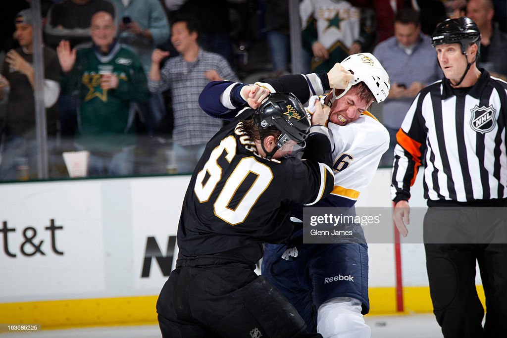 Shea Webber #6 of the Nashville Predators gets physical against <a gi-track='captionPersonalityLinkClicked' href=/galleries/search?phrase=Antoine+Roussel&family=editorial&specificpeople=4202700 ng-click='$event.stopPropagation()'>Antoine Roussel</a> #60 of the Dallas Stars at the American Airlines Center on March 12, 2013 in Dallas, Texas.
