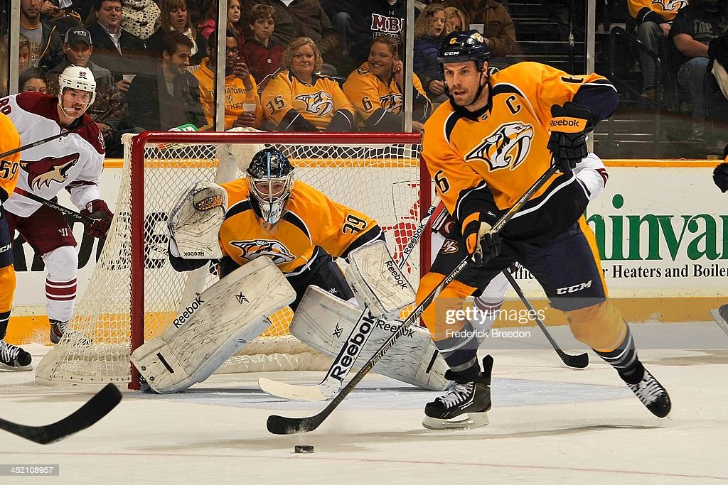<a gi-track='captionPersonalityLinkClicked' href=/galleries/search?phrase=Shea+Weber&family=editorial&specificpeople=554412 ng-click='$event.stopPropagation()'>Shea Weber</a> #6 and Marek Mazanec #39 of the Nashville Predators skate against the Phoenix Coyotes at Bridgestone Arena on November 25, 2013 in Nashville, Tennessee.