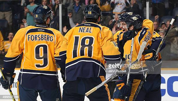 Shea Weber celebrates a goal with Calle Jarnkrok James Neal and Filip Forsberg of the Nashville Predators against the Arizona Coyotes during an NHL...
