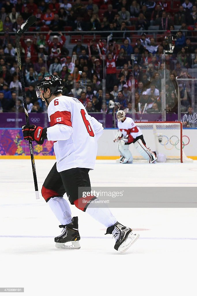<a gi-track='captionPersonalityLinkClicked' href=/galleries/search?phrase=Shea+Weber&family=editorial&specificpeople=554412 ng-click='$event.stopPropagation()'>Shea Weber</a> #6 of Canada celebrates his third-period goal against Latvia during the Men's Ice Hockey Quarterfinal Playoff on Day 12 of the 2014 Sochi Winter Olympics at Bolshoy Ice Dome on February 19, 2014 in Sochi, Russia.