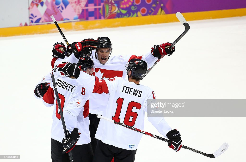 <a gi-track='captionPersonalityLinkClicked' href=/galleries/search?phrase=Shea+Weber&family=editorial&specificpeople=554412 ng-click='$event.stopPropagation()'>Shea Weber</a> #6 of Canada celebrates with teammates <a gi-track='captionPersonalityLinkClicked' href=/galleries/search?phrase=Drew+Doughty&family=editorial&specificpeople=2085761 ng-click='$event.stopPropagation()'>Drew Doughty</a> #8, <a gi-track='captionPersonalityLinkClicked' href=/galleries/search?phrase=Ryan+Getzlaf&family=editorial&specificpeople=602655 ng-click='$event.stopPropagation()'>Ryan Getzlaf</a> #15 and <a gi-track='captionPersonalityLinkClicked' href=/galleries/search?phrase=Jonathan+Toews&family=editorial&specificpeople=537799 ng-click='$event.stopPropagation()'>Jonathan Toews</a> #16 after scoring a third period goal against Latvia during the Men's Ice Hockey Quarterfinal Playoff on Day 12 of the 2014 Sochi Winter Olympics at Bolshoy Ice Dome on February 19, 2014 in Sochi, Russia.