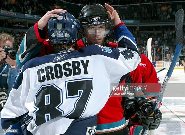 Shea Weber of the Kelowna Rockets congratulates Team Canada teammate Sidney Crosby of the Rimouski Oceanic after their game during the Memorial Cup...