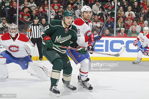 Shea Weber of the Montreal Canadiens defends Nino Niederreiter of the Minnesota Wild during the game on January 12 2017 at the Xcel Energy Center in...