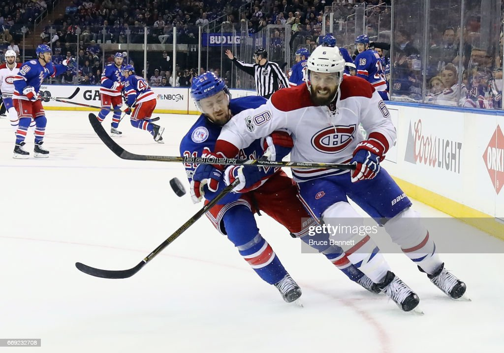 Shea Weber #6 of the Montreal Canadiens skates against Derek Stepan #21 of the New York Rangers in Game Three of the Eastern Conference First Round during the 2017 NHL Stanley Cup Playoffs at Madison Square Garden on April 16, 2017 in New York City. The Canadiens defeated the Rangers 3-1.