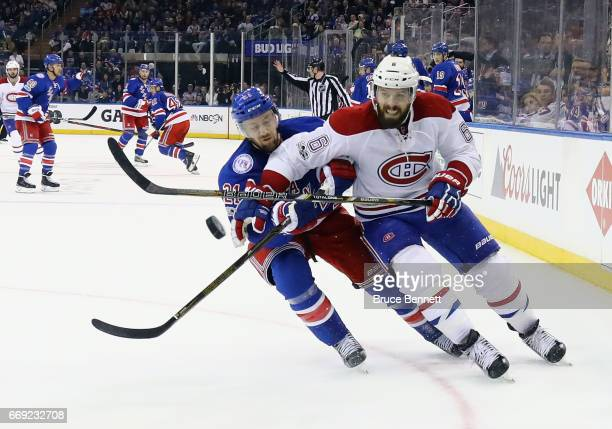 Shea Weber of the Montreal Canadiens skates against Derek Stepan of the New York Rangers in Game Three of the Eastern Conference First Round during...