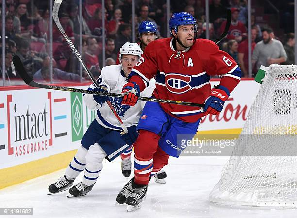 Shea Weber of the Montreal Canadiens skates against of the Toronto Maple Leafs during a preseason NHL game at the Bell Centre on October 6 2016 in...