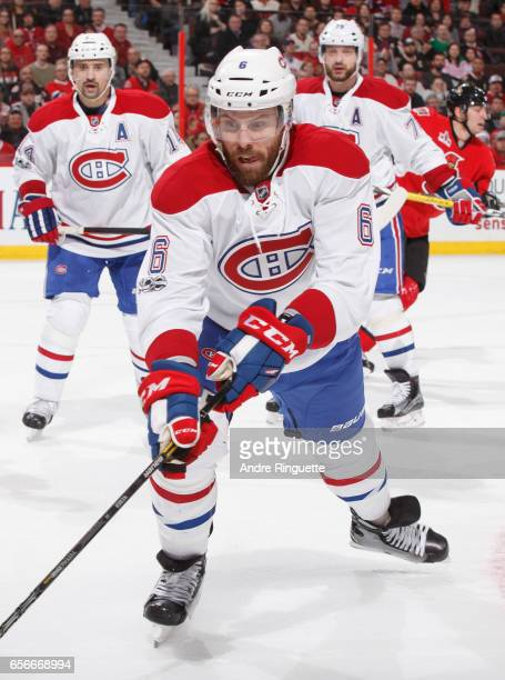 Shea Weber of the Montreal Canadiens skates against the Ottawa Senators at Canadian Tire Centre on March 18 2017 in Ottawa Ontario Canada