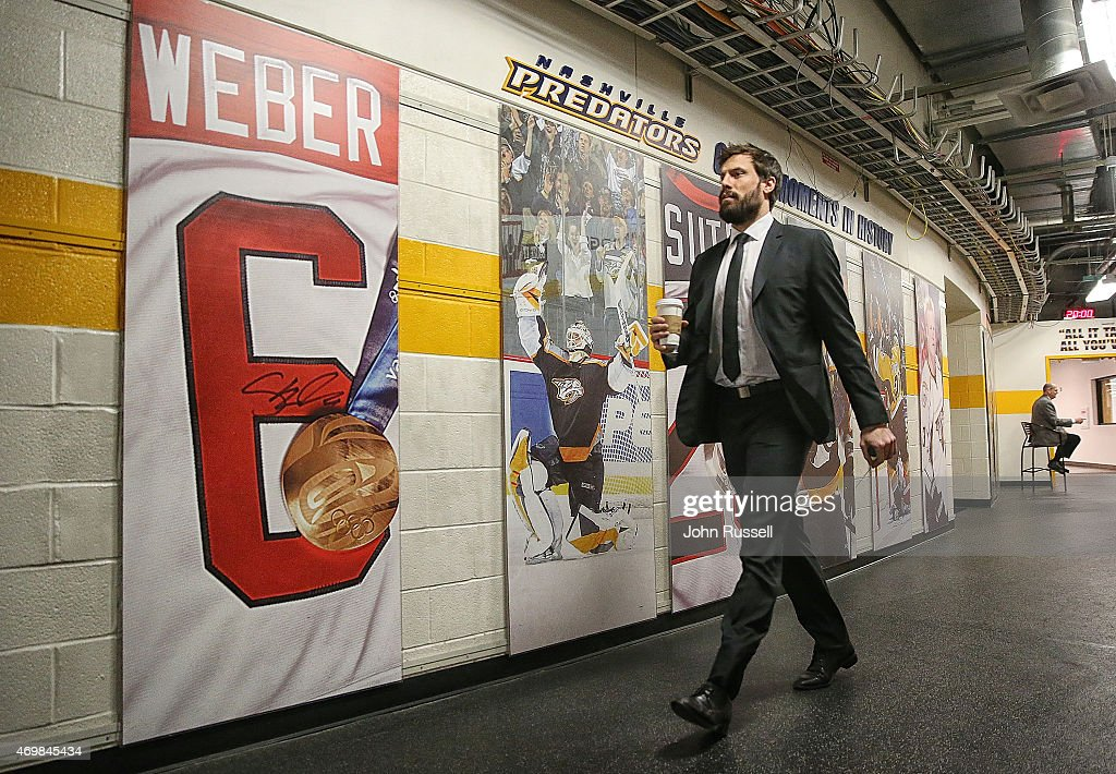 Shea Weber #6 of the Nashville Predators arrives at Bridgestone Arena for Game One of the Western Conference Quarterfinals against the Chicago Blackhawks during the 2015 NHL Stanley Cup Playoffs on April 15, 2015 in Nashville, Tennessee.