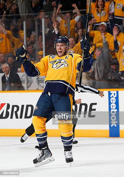 Shea Weber of the Nashville Predators celebrates his goal against the Tampa Bay Lightning during an NHL game at Bridgestone Arena on October 20 2015...