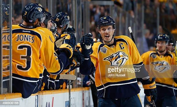 Shea Weber of the Nashville Predators celebrates his goal against the Toronto Maple Leafs as he skates in his 700th career NHL game on November 12...