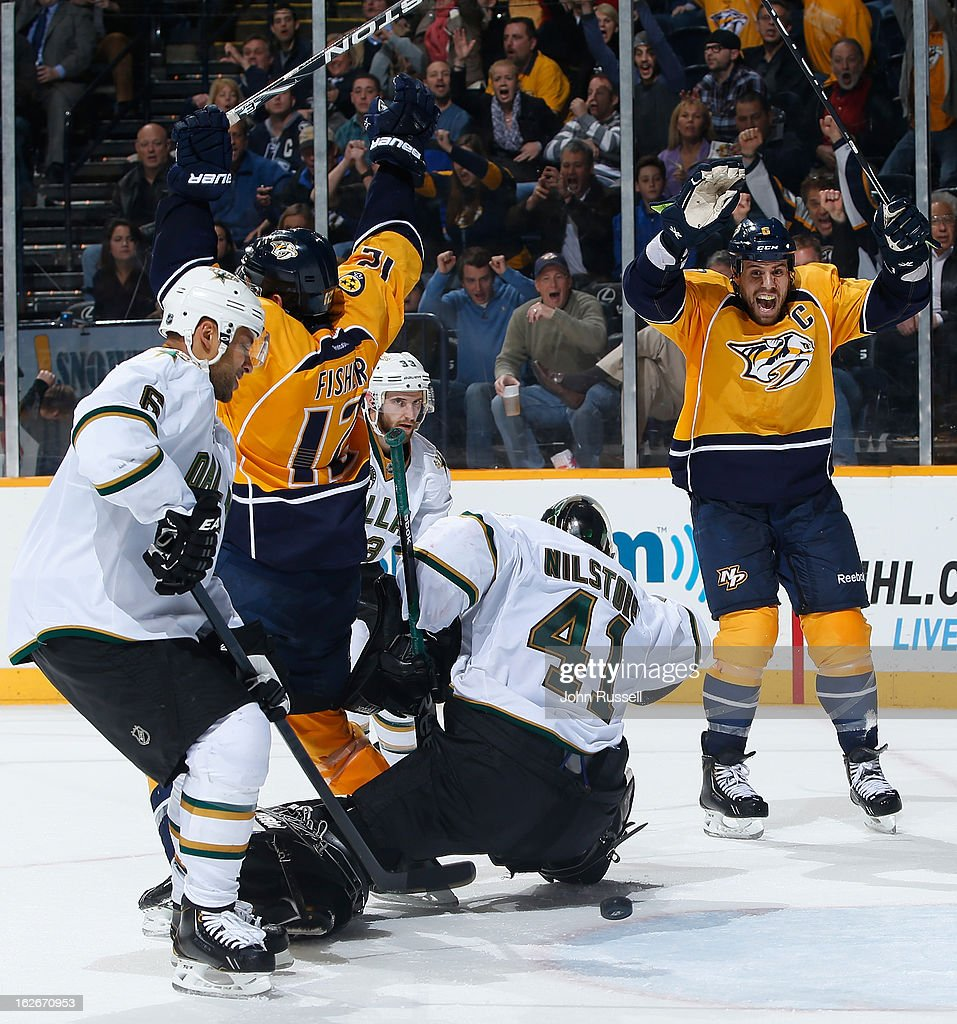 Shea Weber #6 of the Nashville Predators celebrates the overtime game winning goal against Cristopher Nilstorp #41 of the Dallas Stars during an NHL game at the Bridgestone Arena on February 25, 2013 in Nashville, Tennessee.