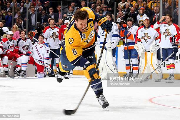 Shea Weber of the Nashville Predators competes in the AMP Energy NHL Hardest Shot during the 2016 Honda NHL AllStar Skill Competition at Bridgestone...