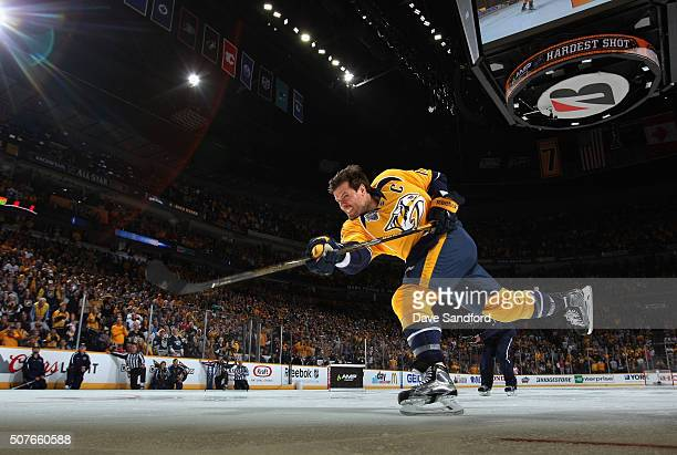 Shea Weber of the Nashville Predators competes in the AMP Energy NHL Hardest Shot during 2016 Honda NHL AllStar Skill Competition at Bridgestone...
