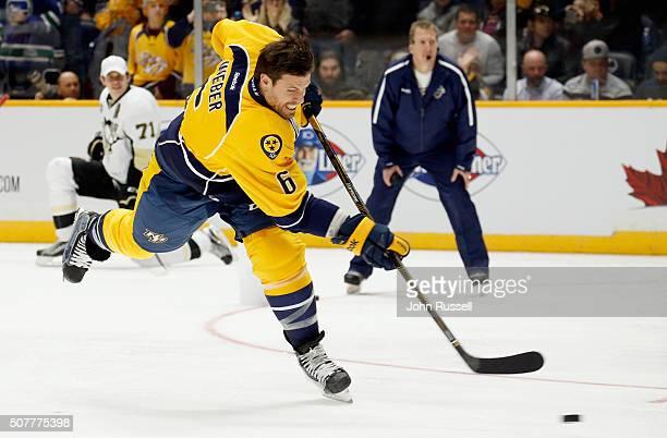 Shea Weber of the Nashville Predators competes in the AMP Energy NHL Hardest Shot during 2016 Honda NHL AllStar Skill Competition at Bridgestone...