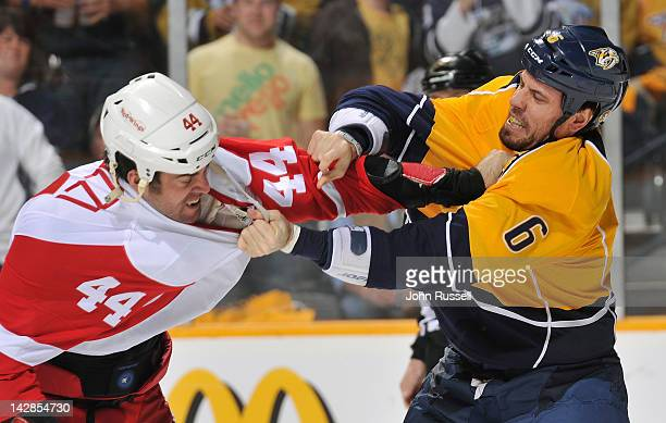 Shea Weber of the Nashville Predators drops the gloves against Todd Bertuzzi of the Detroit Red Wings in Game Two of the Western Conference...