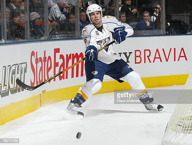Shea Weber of the Nashville Predators fires the puck behind the net in a game against the Toronto Maple Leafs on December 4 2007 at the Air Canada...