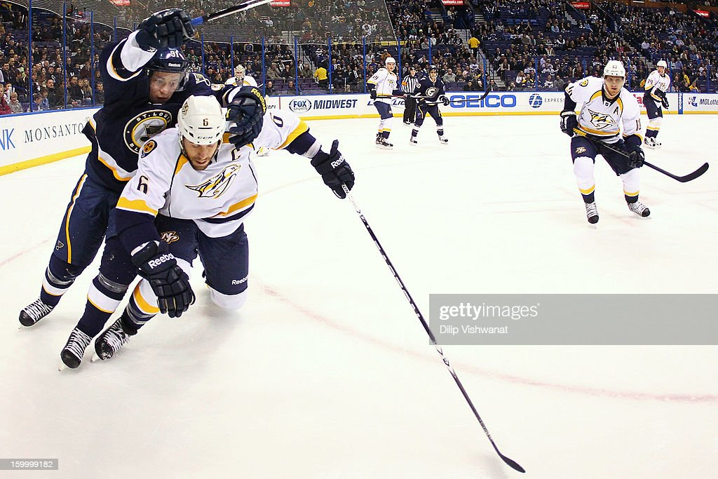 <a gi-track='captionPersonalityLinkClicked' href=/galleries/search?phrase=Shea+Weber&family=editorial&specificpeople=554412 ng-click='$event.stopPropagation()'>Shea Weber</a> #6 of the Nashville Predators holds <a gi-track='captionPersonalityLinkClicked' href=/galleries/search?phrase=Vladimir+Tarasenko&family=editorial&specificpeople=6142635 ng-click='$event.stopPropagation()'>Vladimir Tarasenko</a> #91 of the St. Louis Blues off the puck at the Scottrade Center on January 24, 2013 in St. Louis, Missouri.
