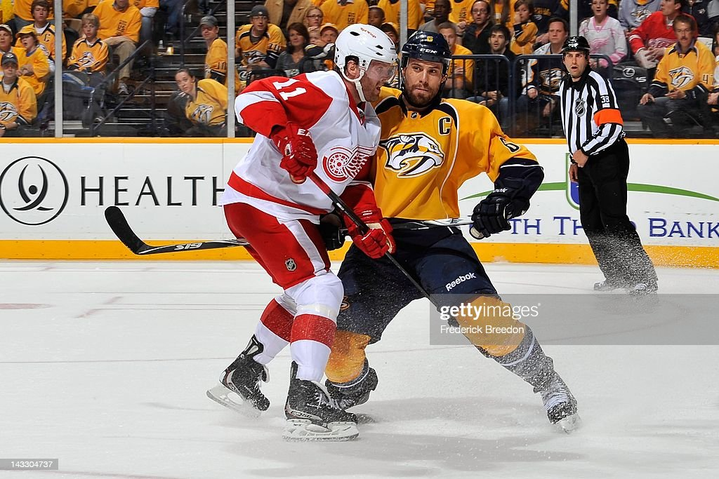 Shea Weber #6 of the Nashville Predators skates against Danny Cleary #11 of the Detroit Red Wings in Game Five of the Western Conference Quarterfinals during the 2012 NHL Stanley Cup Playoffs at the Bridgestone Arena on April 20, 2012 in Nashville, Tennessee.