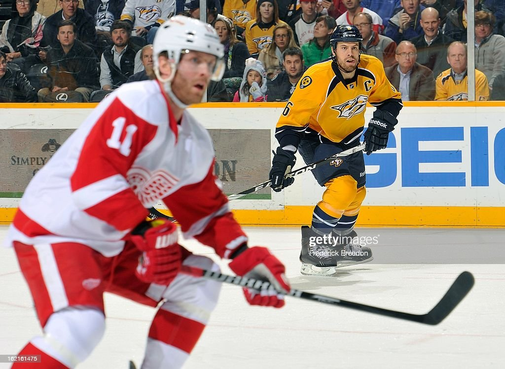 <a gi-track='captionPersonalityLinkClicked' href=/galleries/search?phrase=Shea+Weber&family=editorial&specificpeople=554412 ng-click='$event.stopPropagation()'>Shea Weber</a> #6 of the Nashville Predators skates against Danny Cleary #11 of the Detroit Red Wings at the Bridgestone Arena on February 19, 2013 in Nashville, Tennessee.